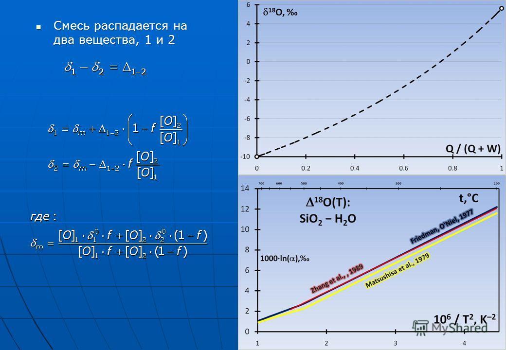 Смесь распадается на два вещества, 1 и 2 Смесь распадается на два вещества, 1 и 2