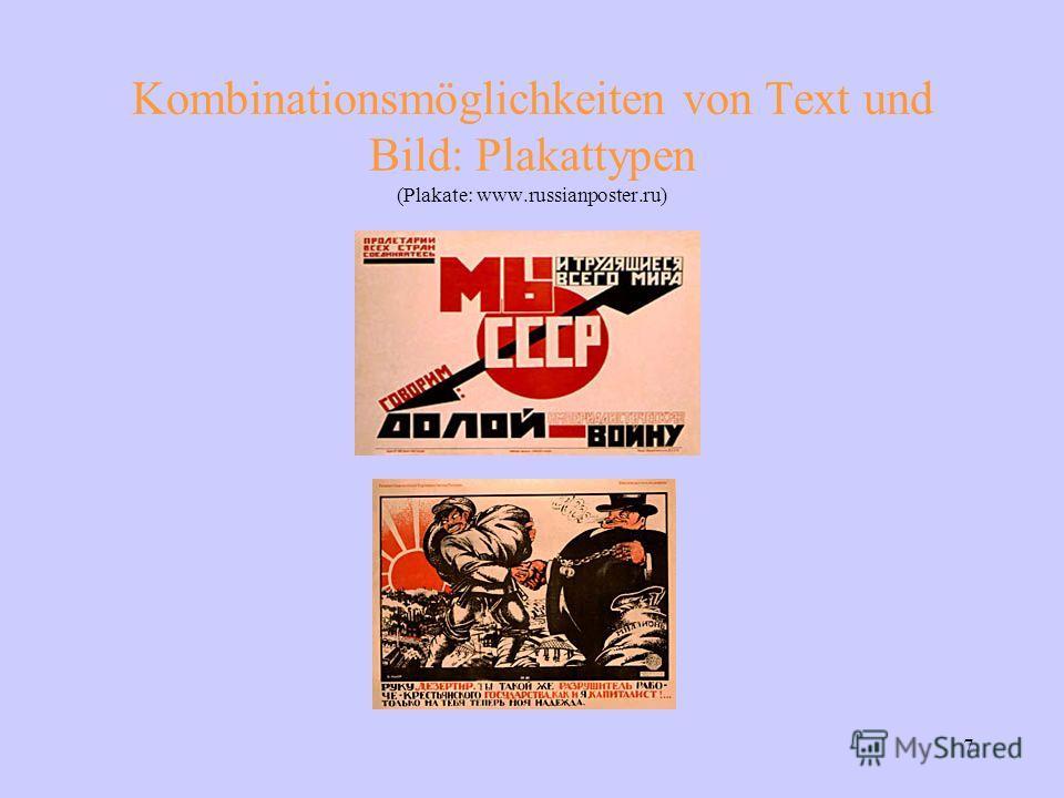 7 Kombinationsmöglichkeiten von Text und Bild: Plakattypen (Plakate: www.russianposter.ru)