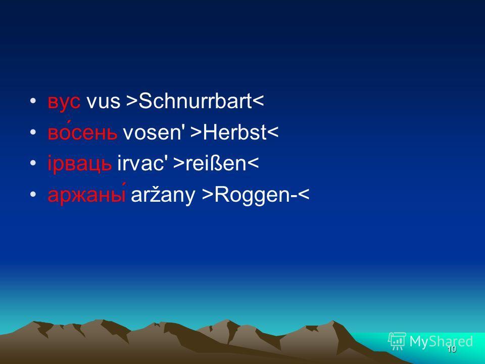 10 вус vus >Schnurrbart< во́сень vosen' >Herbst< iрваць irvac' >reißen< аржаны́ aržany >Roggen-