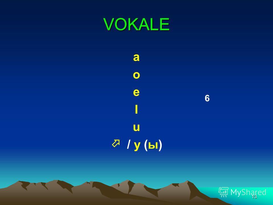 13 VOKALE a o e I u / y (ы) 6