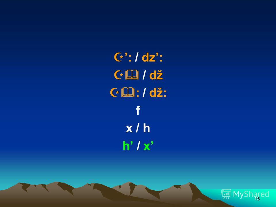 15 : / dz: / dž : / dž: f x / h h / x