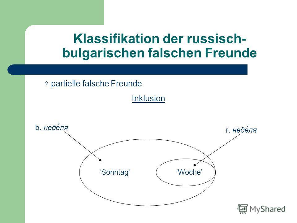 Klassifikation der russisch- bulgarischen falschen Freunde partielle falsche Freunde Inklusion b. неделя r. неделя SonntagWoche