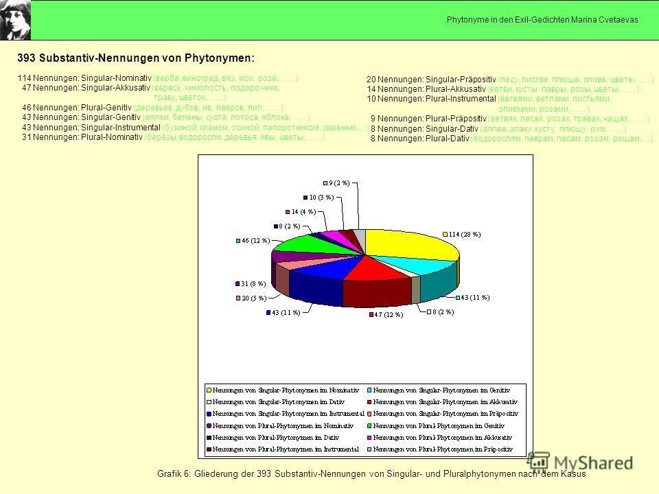 Grafik 6: Gliederung der 393 Substantiv-Nennungen von Singular- und Pluralphytonymen nach dem Kasus 393 Substantiv-Nennungen von Phytonymen: 114 Nennungen: Singular-Nominativ (верба, виноград, вяз, мох, роза,……) 47 Nennungen: Singular-Akkusativ (вере