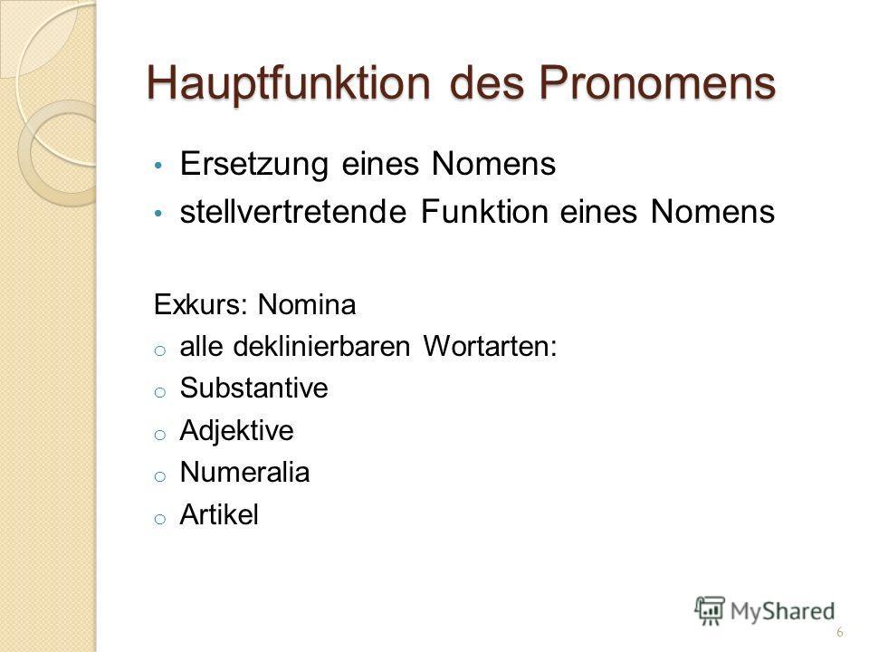 Hauptfunktion des Pronomens Ersetzung eines Nomens stellvertretende Funktion eines Nomens Exkurs: Nomina o alle deklinierbaren Wortarten: o Substantive o Adjektive o Numeralia o Artikel 6