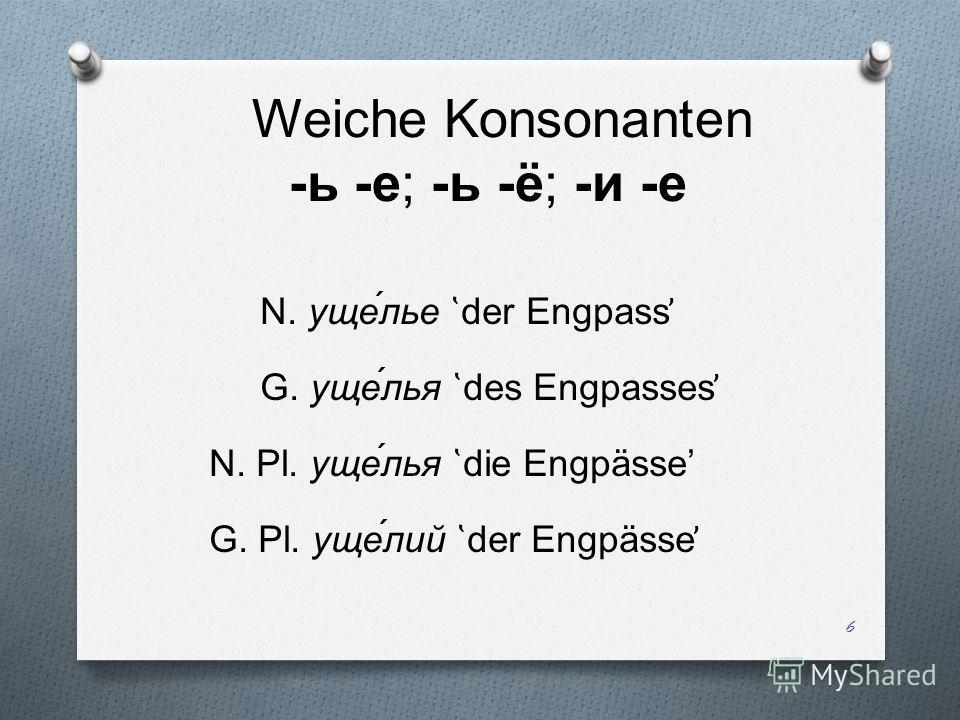 Weiche Konsonanten -ь -е; -ь -ё; -и -е N. уще́лье ̔ der Engpass ̕ G. уще́лья ̔ des Engpasses ̕ N. Pl. уще́лья ̔ die Engpässe G. Pl. уще́лий ̔ der Engpässe ̕ 6