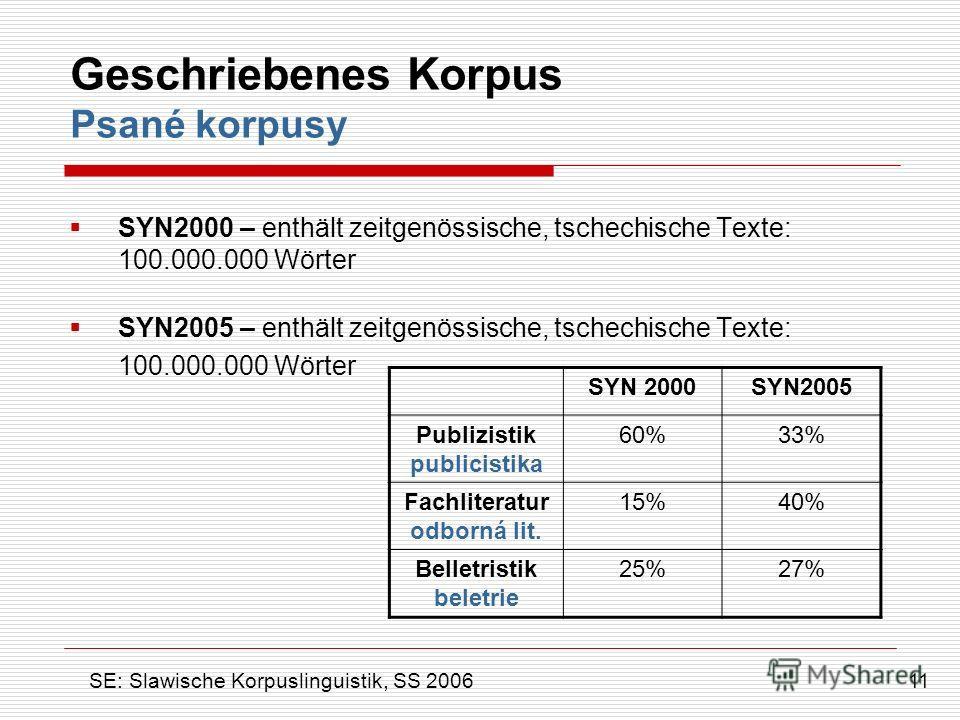 Geschriebenes Korpus Psané korpusy SYN2000 – enthält zeitgenössische, tschechische Texte: 100.000.000 Wörter SYN2005 – enthält zeitgenössische, tschechische Texte: 100.000.000 Wörter 11 SE: Slawische Korpuslinguistik, SS 2006 SYN 2000SYN2005 Publizis