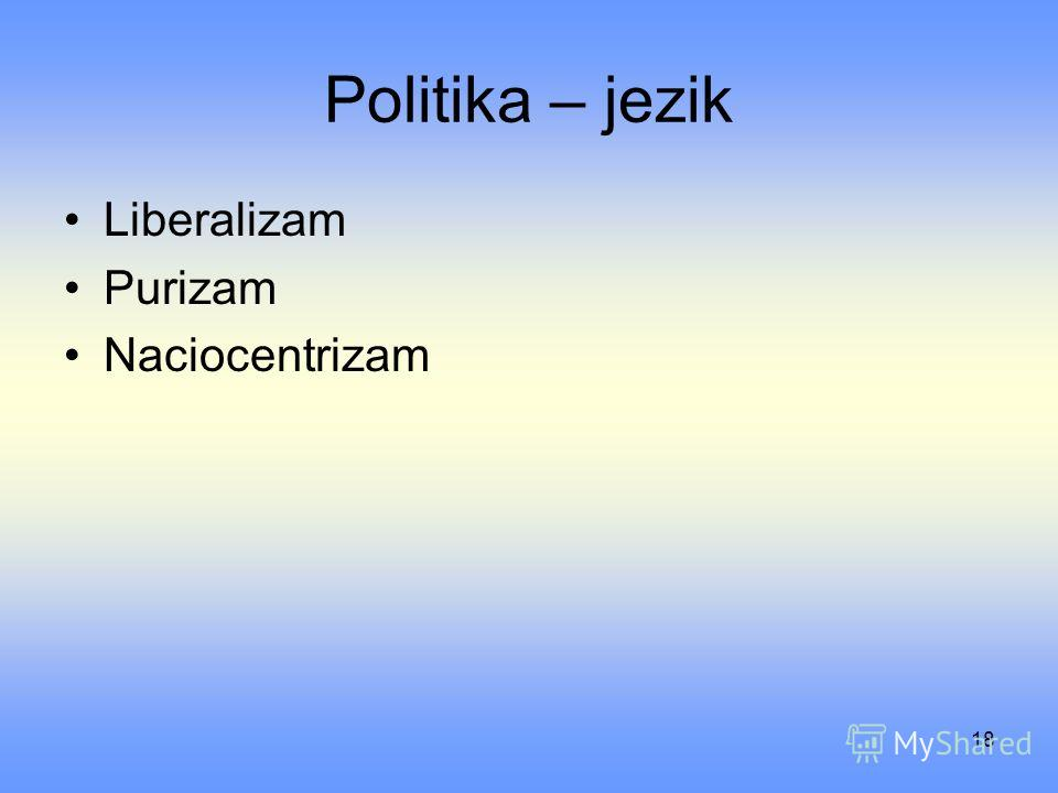 18 Politika – jezik Liberalizam Purizam Naciocentrizam