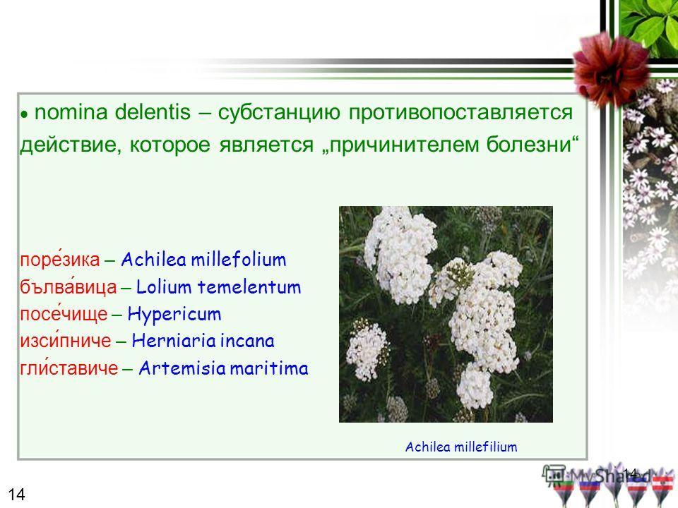 14 nomina delentis – субстанцию противопоставляется действие, которое является причинителем болезни поре́зика – Achilea millefolium бълвавица – Lolium temelentum посе́чище – Hypericum изсипниче – Herniaria incana гли́ставиче – Artemisia maritima Achi
