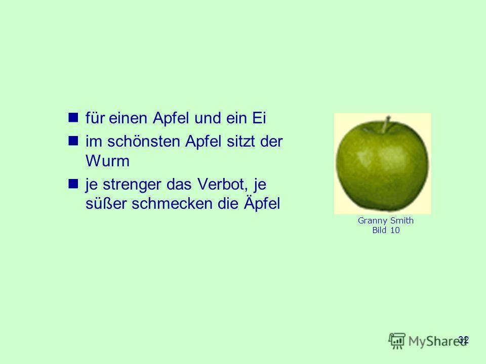 32 für einen Apfel und ein Ei im schönsten Apfel sitzt der Wurm je strenger das Verbot, je süßer schmecken die Äpfel Granny Smith Bild 10