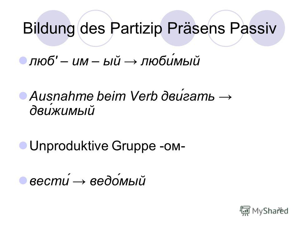 30 Bildung des Partizip Präsens Passiv люб' – им – ый люби́мый Ausnahme beim Verb дви́гать дви́жимый Unproduktive Gruppe -ом- вести́ ведо́мый