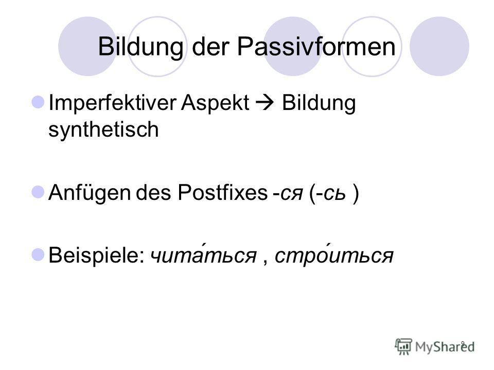 9 Bildung der Passivformen Imperfektiver Aspekt Bildung synthetisch Anfügen des Postfixes -ся (-сь ) Beispiele: чита́ться, стро́иться