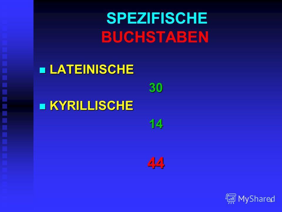 4 SPEZIFISCHE BUCHSTABEN LATEINISCHE LATEINISCHE30 KYRILLISCHE KYRILLISCHE1444