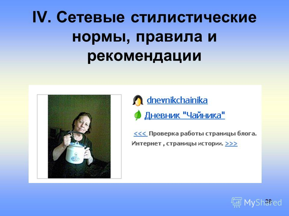 38 IV. Сетевые стилистические нормы, правила и рекомендации