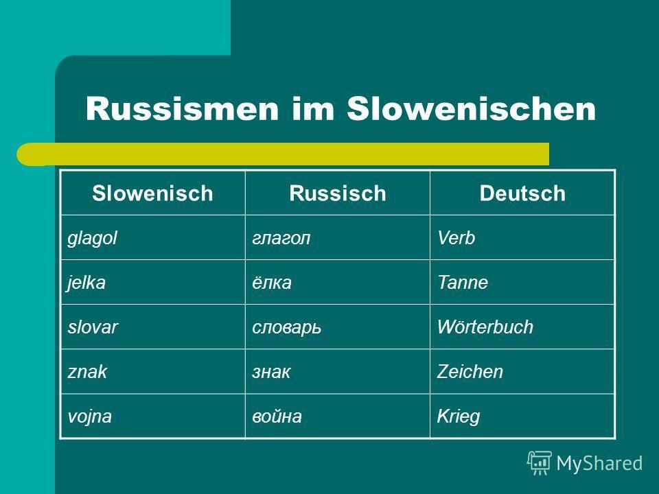 Russismen im Slowenischen SlowenischRussischDeutsch glagolглаголVerb jelkaёлкаTanne slovarсловарьWörterbuch znakзнакZeichen vojnaвойнаKrieg