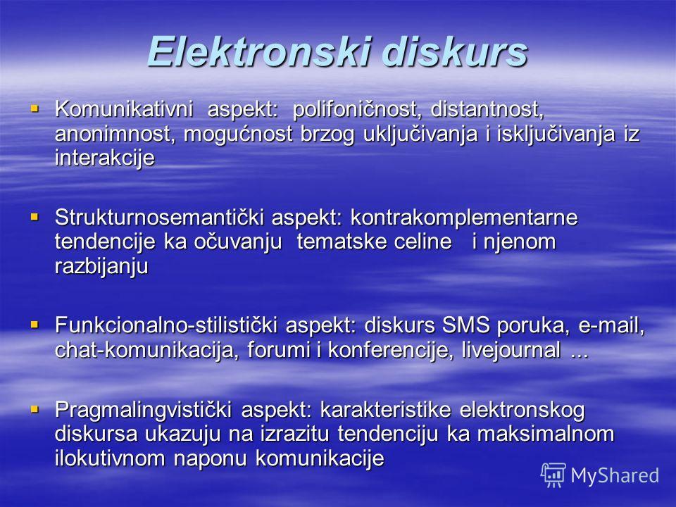 Elektronski diskurs Komunikativni aspekt: polifoničnost, distantnost, anonimnost, mogućnost brzog uključivanja i isključivanja iz interakcije Komunikativni aspekt: polifoničnost, distantnost, anonimnost, mogućnost brzog uključivanja i isključivanja i