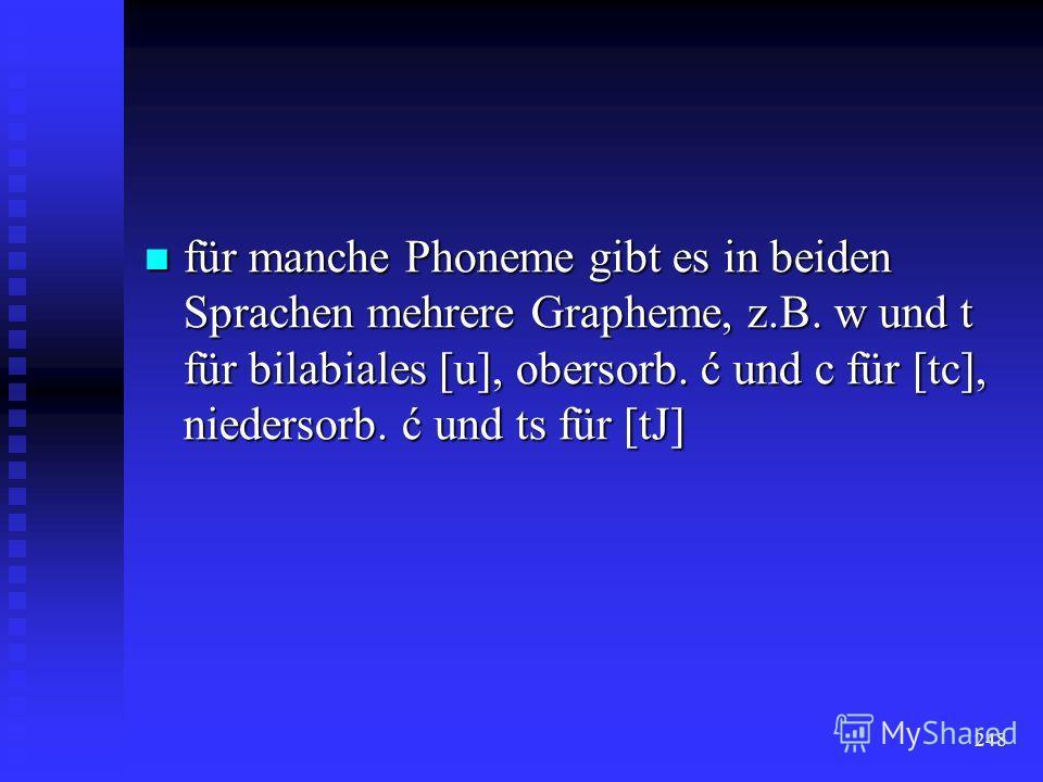 247 Die Orthographie folgt weitgehend dem phonetischen, daneben aber auch dem morphologischen und historischen Prinzip folgt weitgehend dem phonetischen, daneben aber auch dem morphologischen und historischen Prinzip
