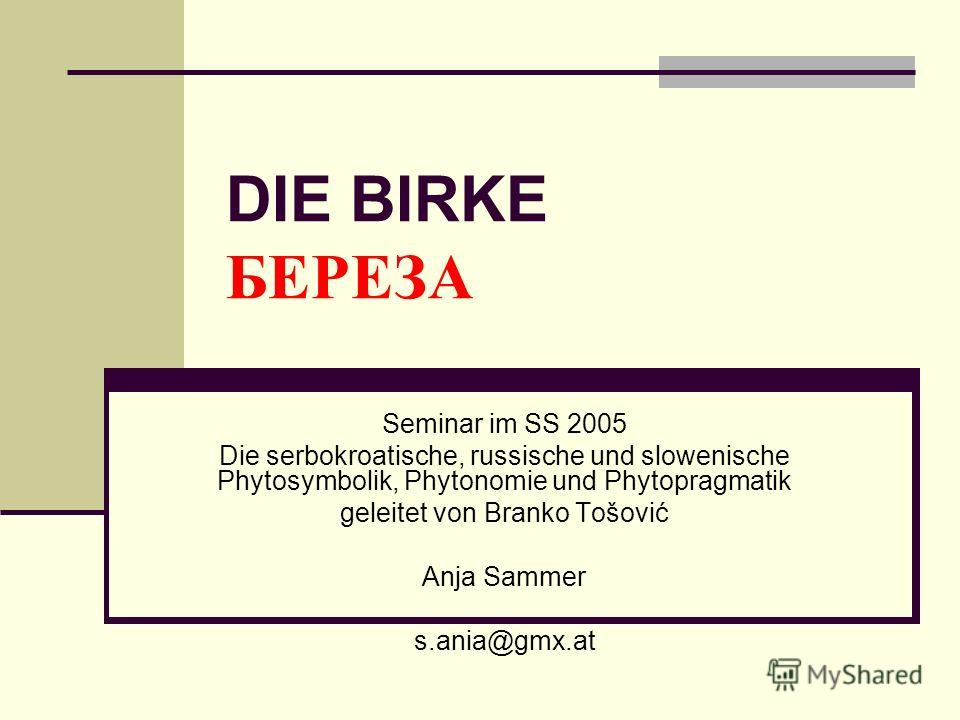 DIE BIRKE БЕРЕЗА Seminar im SS 2005 Die serbokroatische, russische und slowenische Phytosymbolik, Phytonomie und Phytopragmatik geleitet von Branko Tošović Anja Sammer s.ania@gmx.at