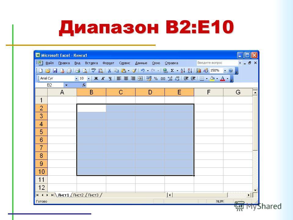 Диапазон B2:E10