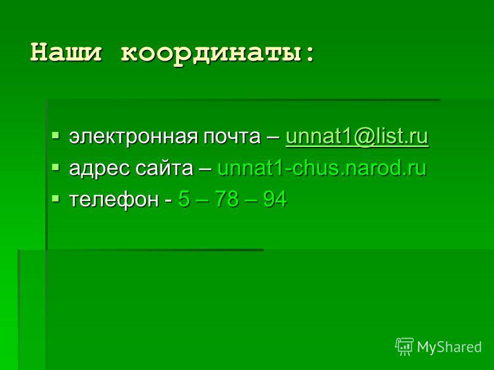 Наши координаты: электронная почта – unnat1@list.ru электронная почта – unnat1@list.ruunnat1@list.ru адрес сайта – unnat1-сhus.narod.ru адрес сайта – unnat1-сhus.narod.ru телефон - 5 – 78 – 94 телефон - 5 – 78 – 94