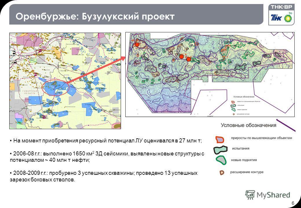 6 Оренбуржье: Бузулукский проект На момент приобретения ресурсный потенциал ЛУ оценивался в 27 млн т; 2006-08 г.г.: выполнено 1650 км 2 3Д сейсмики, выявлены новые структуры с потенциалом ~ 40 млн т нефти; 2008-2009 г.г.: пробурено 3 успешных скважин