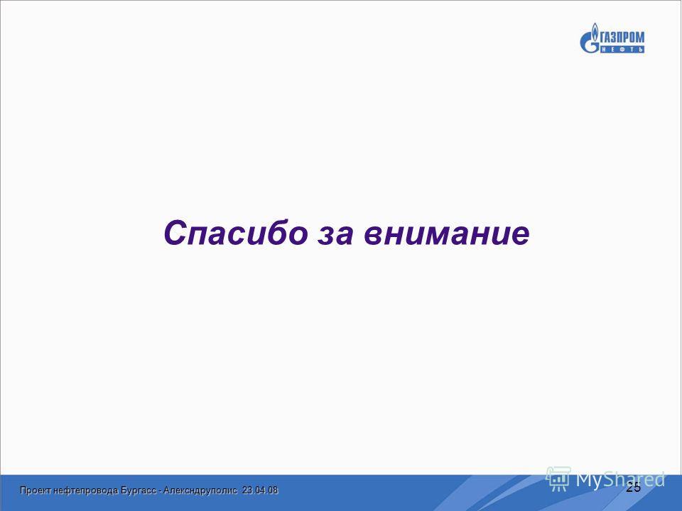 Проект нефтепровода Бургасс - Алексндруполис 23.04.08 25 Спасибо за внимание