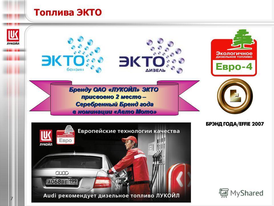 Бренду ОАО «ЛУКОЙЛ» ЭКТО присвоено 2 место – Серебренный Бренд года в номинации «Авто Мото» Топлива ЭКТО 7