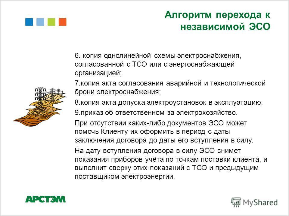 Алгоритм перехода к независимой ЭСО 6. копия однолинейной схемы электроснабжения, согласованной с ТСО или с энергоснабжающей организацией; 7.копия акта согласования аварийной и технологической брони электроснабжения; 8.копия акта допуска электроустан