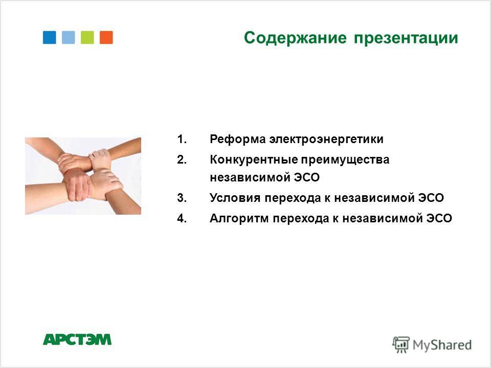 Содержание презентации 1.Реформа электроэнергетики 2.Конкурентные преимущества независимой ЭСО 3.Условия перехода к независимой ЭСО 4.Алгоритм перехода к независимой ЭСО