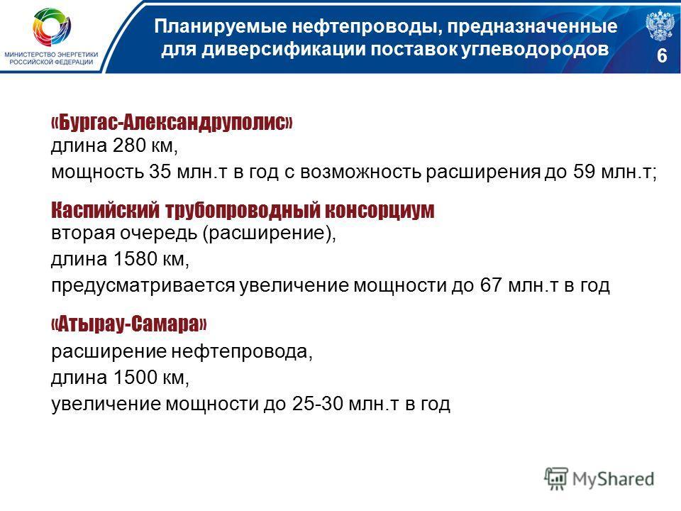 Планируемые нефтепроводы, предназначенные для диверсификации поставок углеводородов «Бургас-Александруполис» длина 280 км, мощность 35 млн.т в год с возможность расширения до 59 млн.т; Каспийский трубопроводный консорциум вторая очередь (расширение),