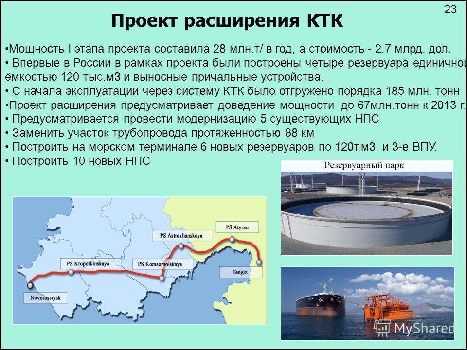 Проект расширения КТК Мощность I этапа проекта составила 28 млн.т/ в год, а стоимость - 2,7 млрд. дол. Впервые в России в рамках проекта были построены четыре резервуара единичной ёмкостью 120 тыс.м3 и выносные причальные устройства. С начала эксплуа