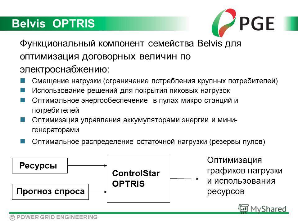 Belvis OPTRIS Функциональный компонент семейства Belvis для о птимизация договорных величин по электроснабжению : Смещение нагрузки (ограничение потребления крупных потребителей) Использование решений для покрытия пиковых нагрузок Оптимальное энергоо