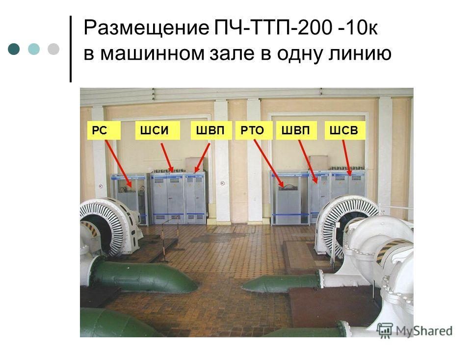 Размещение ПЧ-ТТП-200 -10к в машинном зале в одну линию ШВПРТОШВПШСВШСИРС