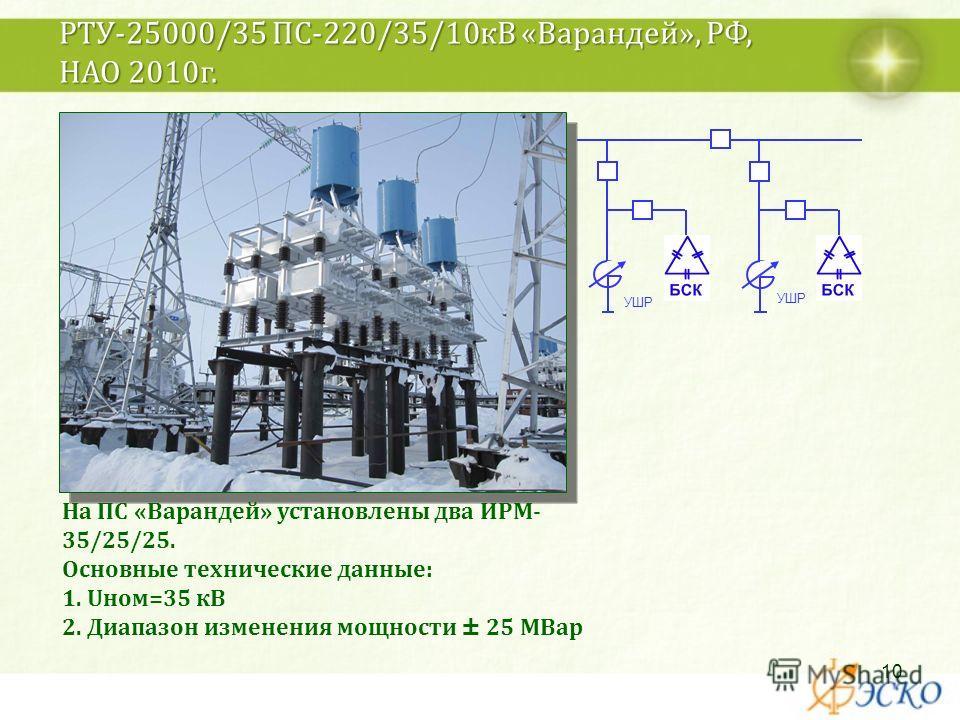 РТУ-25000/35 ПС-220/35/10кВ «Варандей», РФ, НАО 2010г. На ПС «Варандей» установлены два ИРМ- 35/25/25. Основные технические данные: 1. Uном=35 кВ 2. Диапазон изменения мощности ± 25 МВар УШР 10