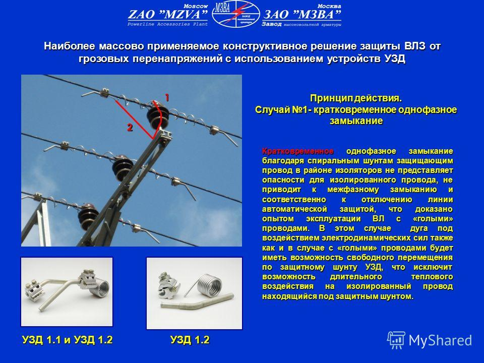 УЗД 1.1 и УЗД 1.2 УЗД 1.2 Кратковременное однофазное замыкание благодаря спиральным шунтам защищающим провод в районе изоляторов не представляет опасности для изолированного провода, не приводит к межфазному замыканию и соответственно к отключению ли