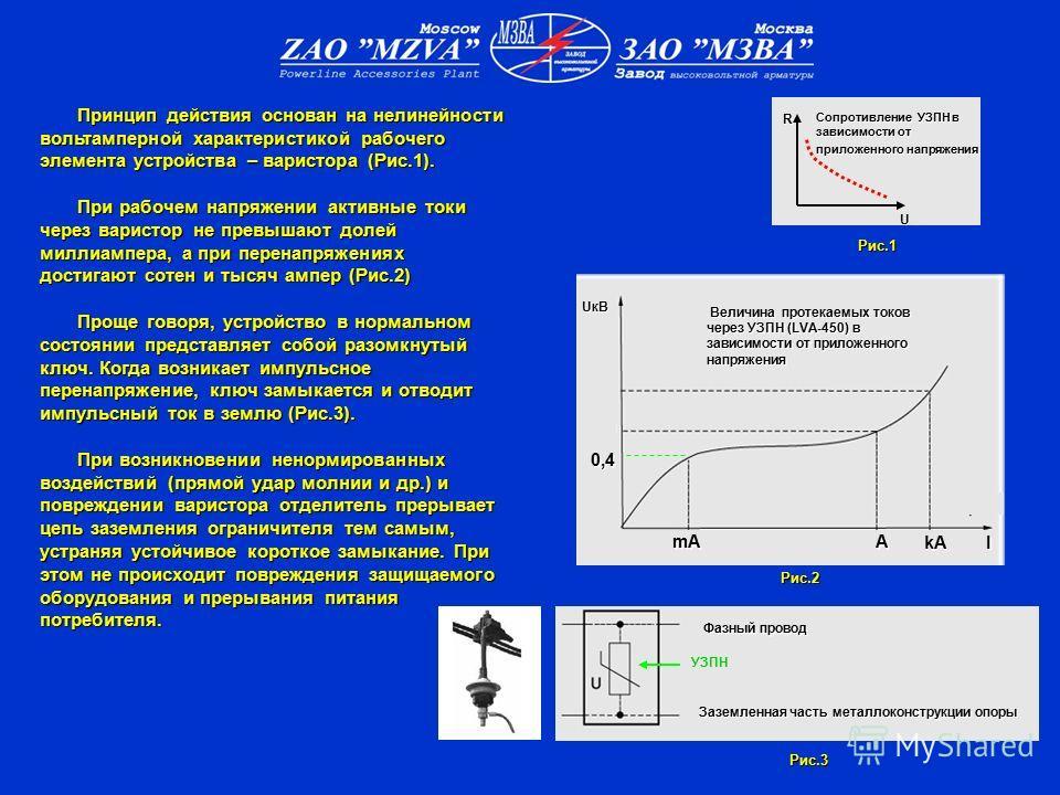 Принцип действия основан на нелинейности вольтамперной характеристикой рабочего элемента устройства – варистора (Рис.1). Принцип действия основан на нелинейности вольтамперной характеристикой рабочего элемента устройства – варистора (Рис.1). При рабо