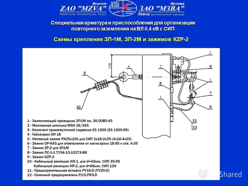 Схемы крепления ЗП-1М, ЗП-2М и зажимов КZP-2 Специальная арматура и приспособления для организации повторного заземления на ВЛ 0,4 кВ с СИП