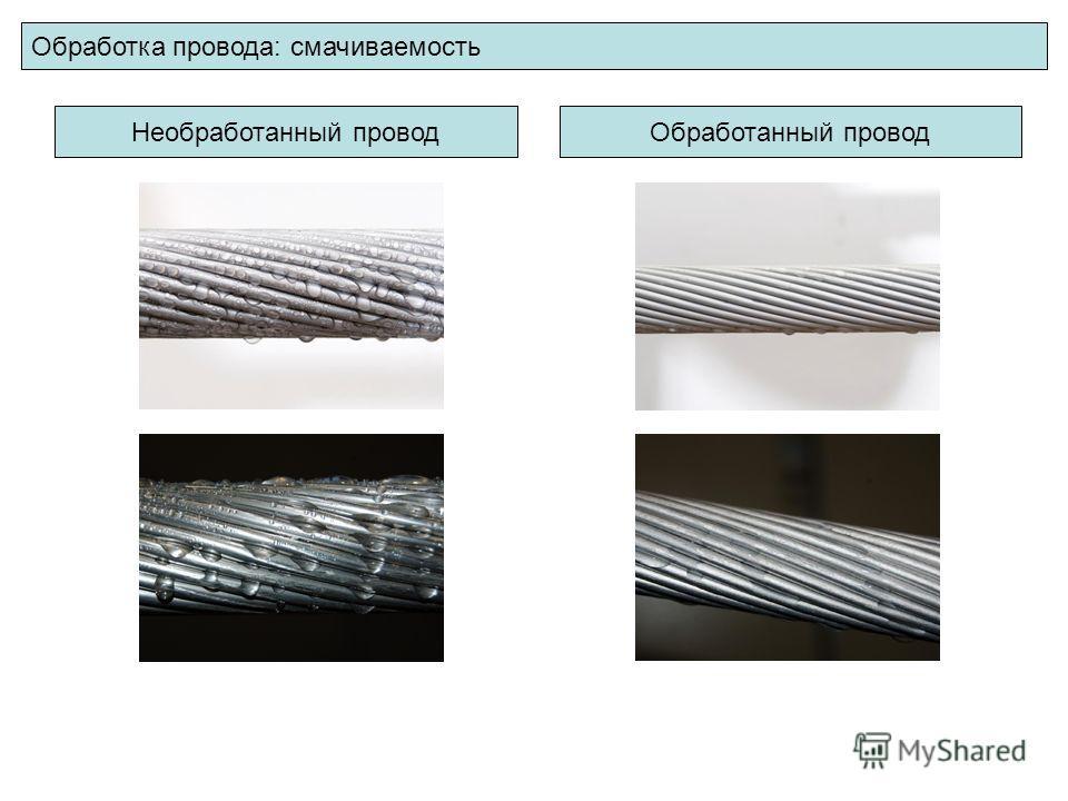 Обработка провода: смачиваемость Необработанный проводОбработанный провод