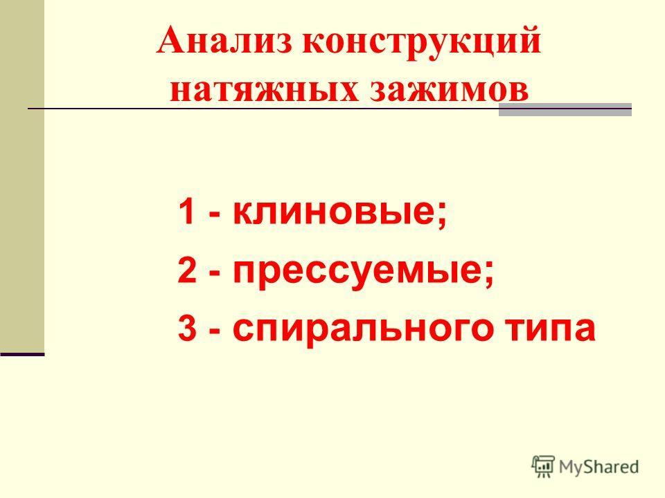 Анализ конструкций натяжных зажимов 1 - клиновые; 2 - прессуемые; 3 - спирального типа