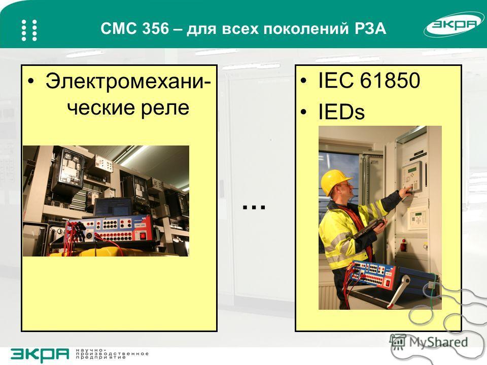 CMC 356 – для всех поколений РЗА Электромехани- ческие реле IEC 61850 IEDs …