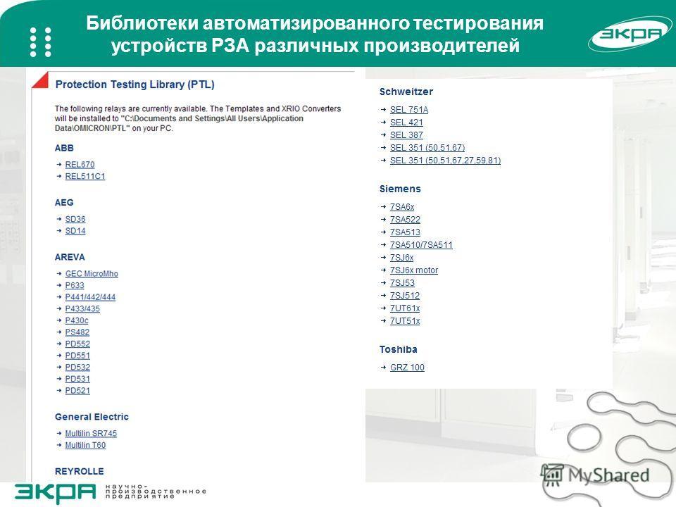 Библиотеки автоматизированного тестирования устройств РЗА различных производителей