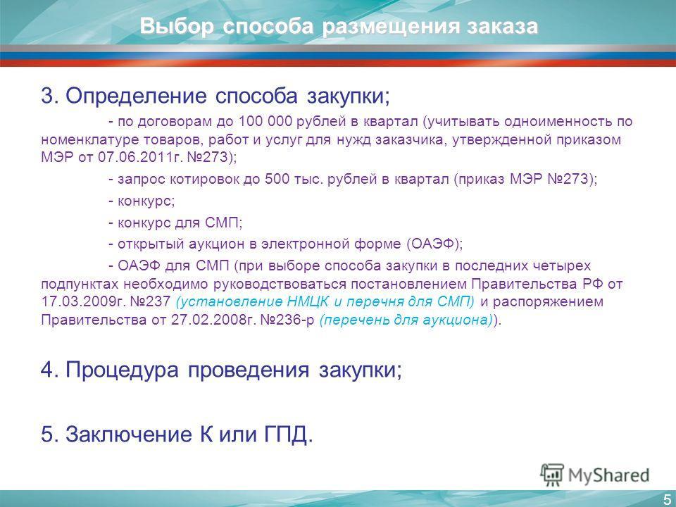 Выбор способа размещения заказа 3. Определение способа закупки; - по договорам до 100 000 рублей в квартал (учитывать одноименность по номенклатуре товаров, работ и услуг для нужд заказчика, утвержденной приказом МЭР от 07.06.2011г. 273); - запрос ко