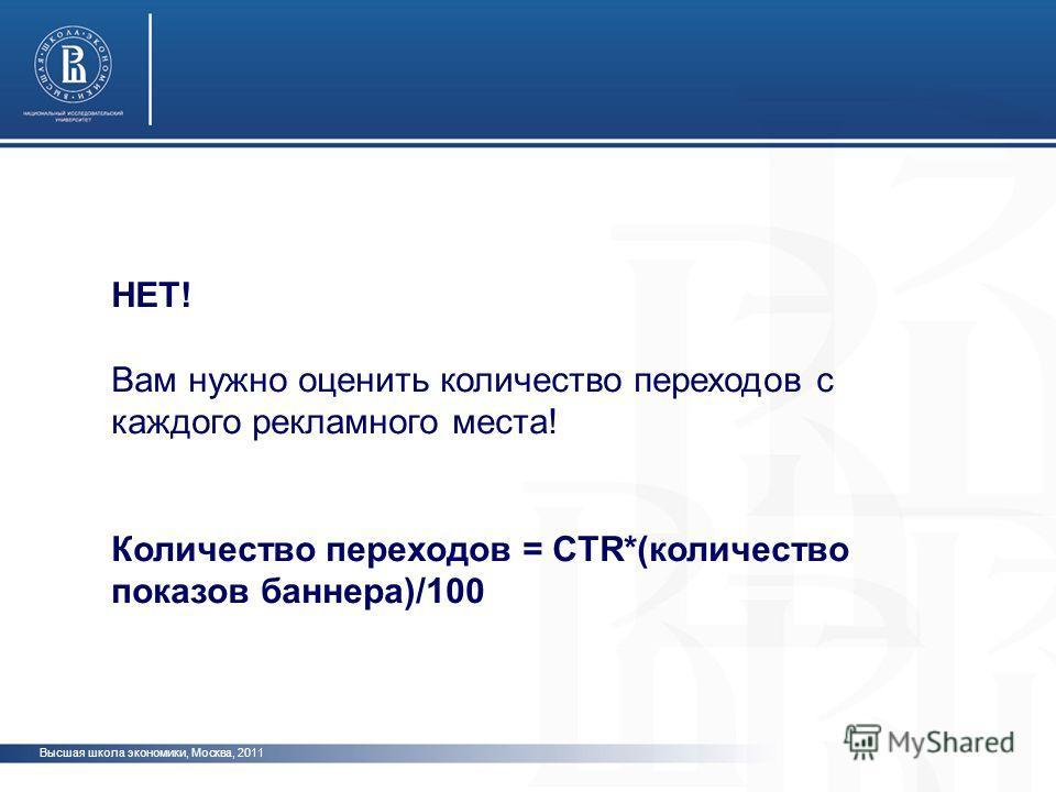 Высшая школа экономики, Москва, 2011 НЕТ! Вам нужно оценить количество переходов с каждого рекламного места! Количество переходов = CTR*(количество показов баннера)/100