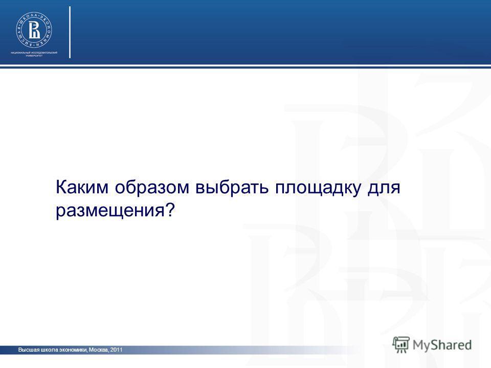 Высшая школа экономики, Москва, 2011 Каким образом выбрать площадку для размещения?