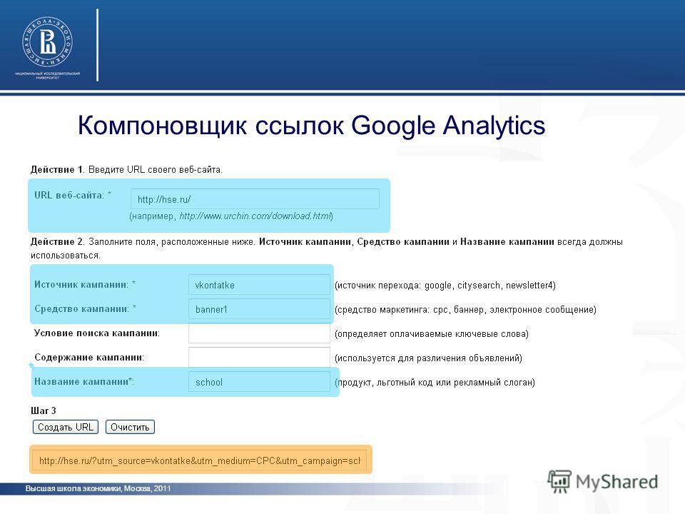 Высшая школа экономики, Москва, 2011 Компоновщик ссылок Google Analytics