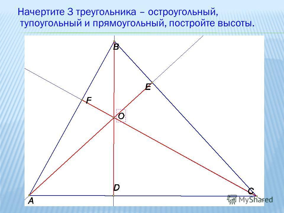 Начертите 3 треугольника – остроугольный, тупоугольный и прямоугольный, постройте высоты.