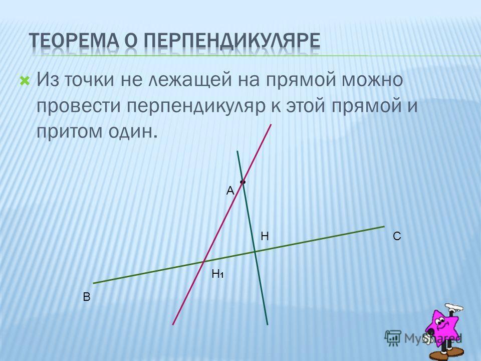 Из точки не лежащей на прямой можно провести перпендикуляр к этой прямой и притом один. В С А Н Н1Н1