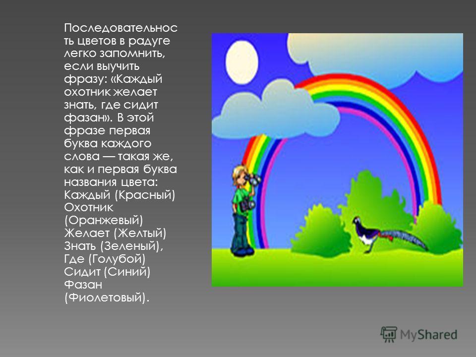 Последовательнос ть цветов в радуге легко запомнить, если выучить фразу: «Каждый охотник желает знать, где сидит фазан». В этой фразе первая буква каждого слова такая же, как и первая буква названия цвета: Каждый (Красный) Охотник (Оранжевый) Желает