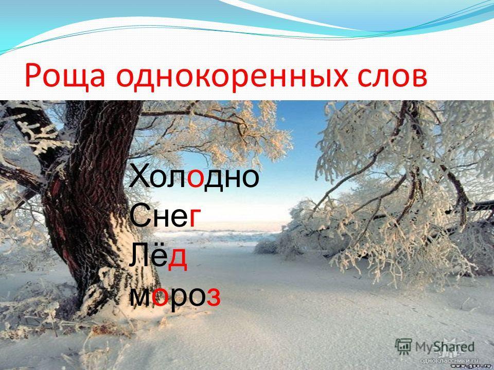 Роща однокоренных слов Холодно Снег Лёд мороз Холодно Снег Лёд мороз