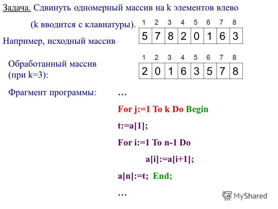 Задача. Сдвинуть одномерный массив на k элементов влево (k вводится с клавиатуры). Например, исходный массив 12345678 57820163 Обработанный массив (при k=3): 12345678 20163578 Фрагмент программы:… For j:=1 To k Do Begin t:=a[1]; For i:=1 To n-1 Do a[