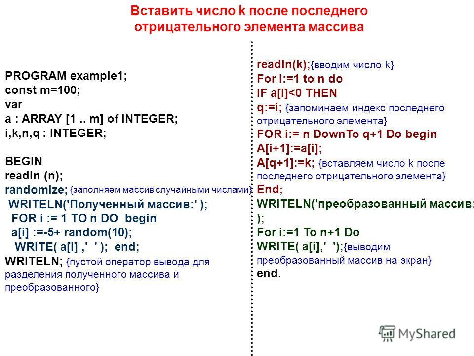 PROGRAM example1; const m=100; var a : ARRAY [1.. m] of INTEGER; i,k,n,q : INTEGER; BEGIN readln (n); randomize; WRITELN('Полученный массив:' ); FOR i := 1 TO n DO begin a[i] :=-5+ random(10); WRITE( a[i],' ' ); end; WRITELN; {пустой оператор вывода